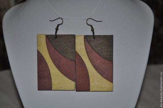 """Серьги ручной работы. Ярмарка Мастеров - ручная работа. Купить Серьги """"Магия прямоугольника"""". Handmade. Серьги, дерево, дерево"""