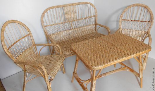 """Мебель ручной работы. Ярмарка Мастеров - ручная работа. Купить Комплект плетеной мебели из лозы """"Уют"""".. Handmade. Комплект, набор"""