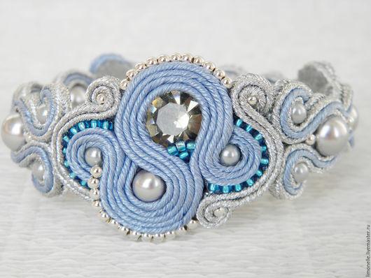 """Браслеты ручной работы. Ярмарка Мастеров - ручная работа. Купить Сутажный браслет """"Джинс"""". Handmade. Голубой, из сутажа, голубое платье"""