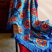 Для дома и интерьера ручной работы. Ярмарка Мастеров - ручная работа Разноцветный плед крючком. Хлопок 100%. Handmade.