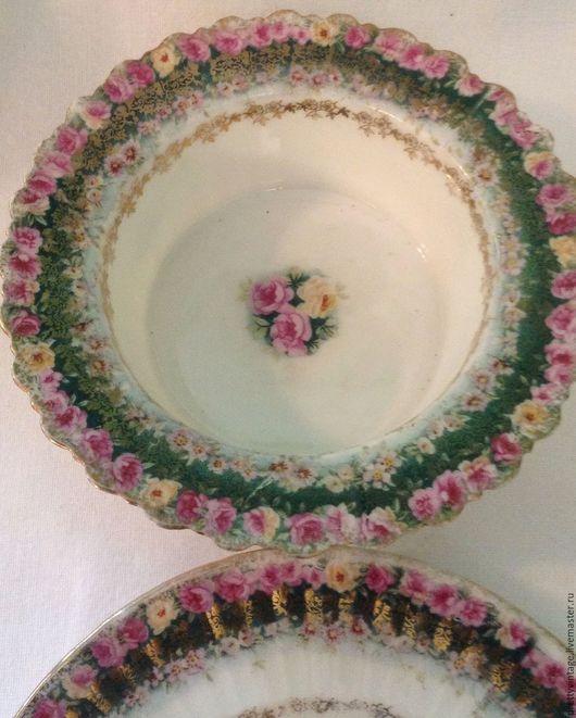 Винтажная посуда. Ярмарка Мастеров - ручная работа. Купить Германия Комплект Для Десерта Викторианские Розочки. Handmade. Комбинированный, фарфор