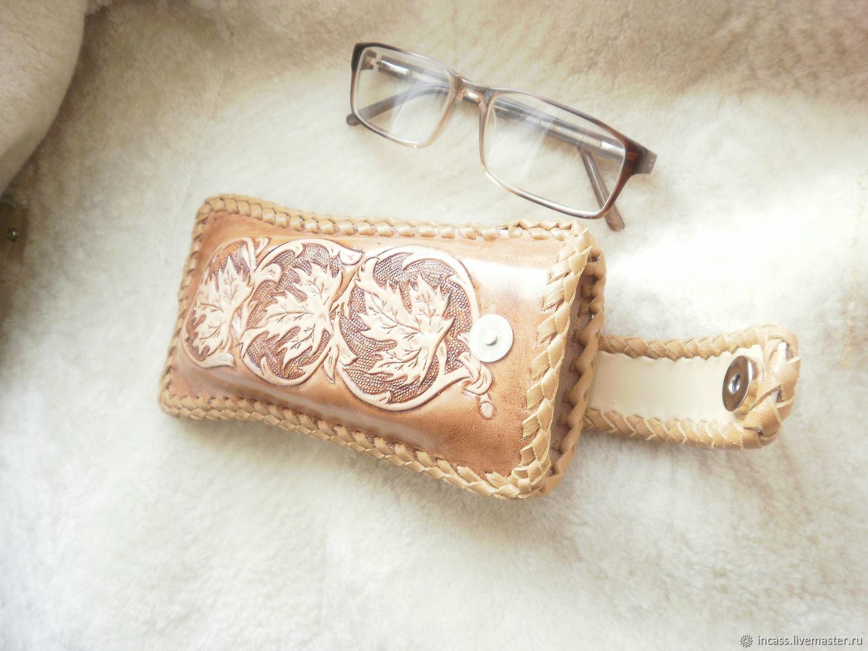 Кожаный очечник, футляр для очков