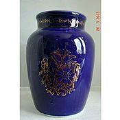 Винтаж handmade. Livemaster - original item Vase LFZ, 50s, hand painted, cobalt, gold. Handmade.