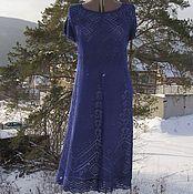 """Одежда ручной работы. Ярмарка Мастеров - ручная работа """"Предрассветный сон"""" платье в чернильном цвете, шелк. Handmade."""