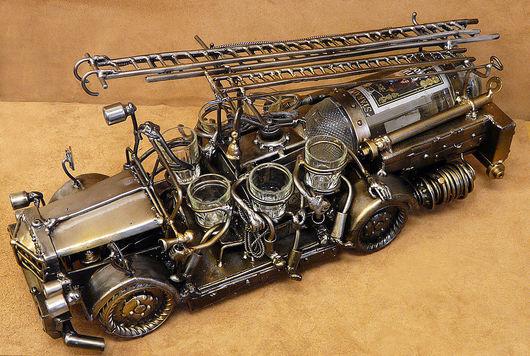 Миниатюрные модели ручной работы. Ярмарка Мастеров - ручная работа. Купить Пожарная машина. Handmade. Водочный набор, пожарная машина