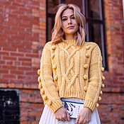 handmade. Livemaster - original item Jerseys: Women`s handmade alpaca sweater in lemon color. Handmade.