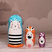 Куклы и игрушки handmade. Livemaster - original item Educational Toy Matryoshka Cat-Rabbit-Chicken hearts. Handmade.