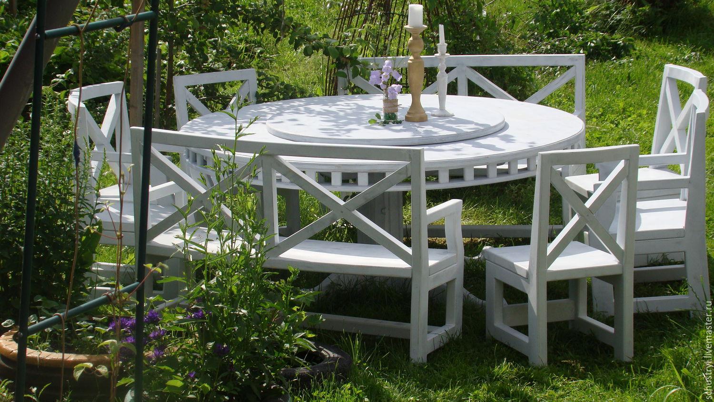 Furniture handmade. Livemaster - handmade. Buy Стол с крутящейся столешницей из массива кедра Утренний прованс.Белый, Стол из массива