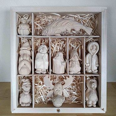 Dolls & toys handmade. Livemaster - original item Gift set of carved wooden figures. Set of Christmas toys. Handmade.