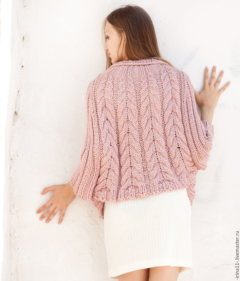 Buy Light Pink Poncho Sweater Loose Knit Poncho Cape Cable Knit ...