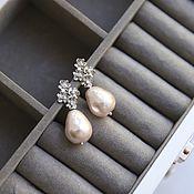 Свадебный салон handmade. Livemaster - original item Wedding earrings with cotton pearls and cubic Zirconia. Handmade.