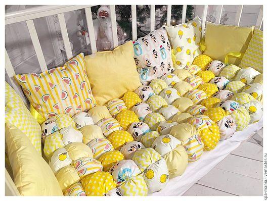 Для новорожденных, ручной работы. Ярмарка Мастеров - ручная работа. Купить Комплект в кроватку. Handmade. Желтый, для малыша, детский текстиль