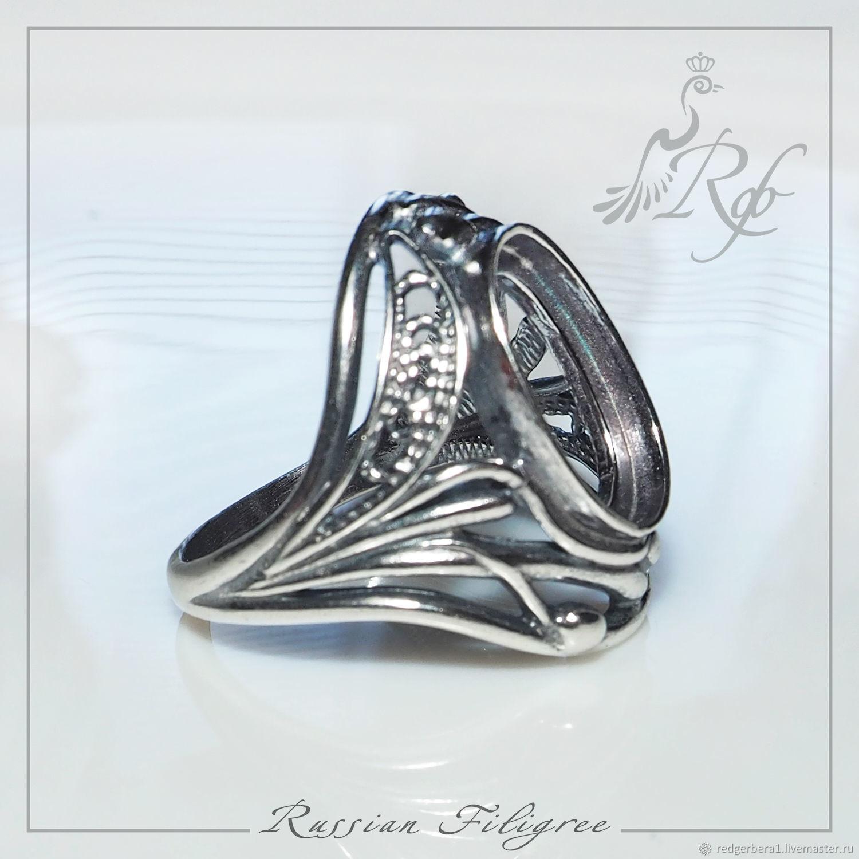 """Для украшений ручной работы. Ярмарка Мастеров - ручная работа. Купить Основа для кольца """"Феба""""(14х10 мм) - серебрение 925 пробы. Handmade."""
