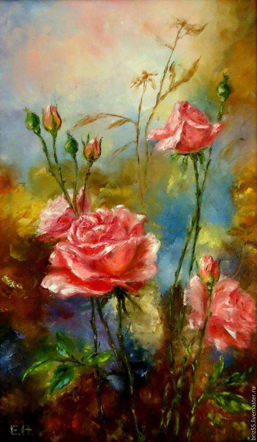 Картины цветов ручной работы. Ярмарка Мастеров - ручная работа. Купить Картина маслом Розовый куст. Handmade. Разноцветный