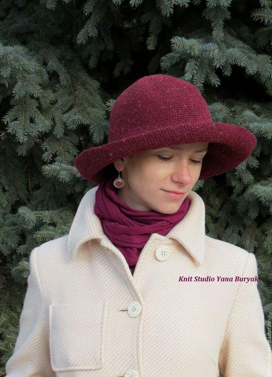 Шляпы ручной работы. Ярмарка Мастеров - ручная работа. Купить Шляпа винного цвета с широкими полями. Handmade. Бордовый