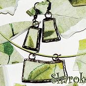 """Украшения ручной работы. Ярмарка Мастеров - ручная работа Серьги и подвеска  """"Счастливая зелень"""" керамика. Handmade."""