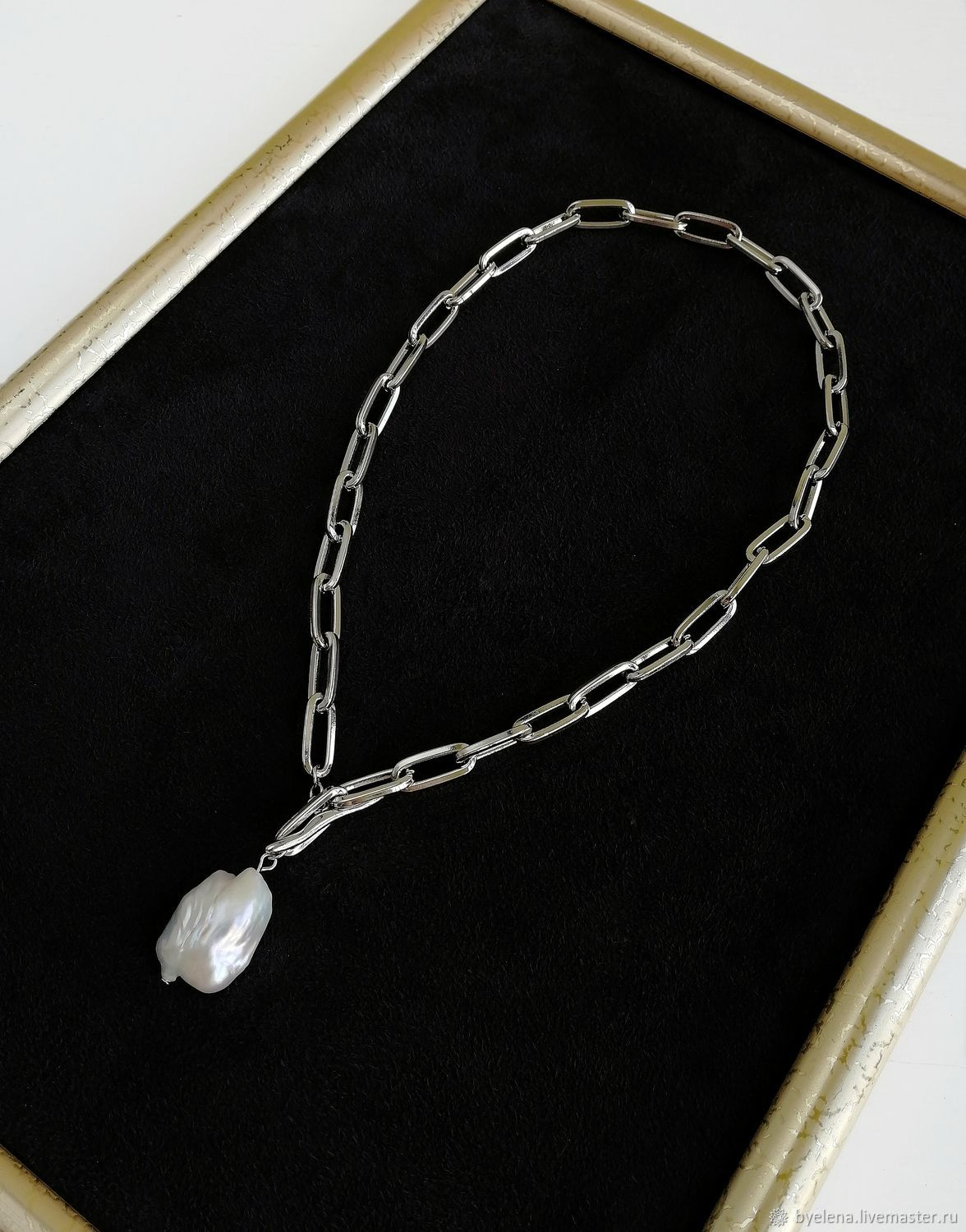 Necklace chain with Baroque pearls. Pendant Pearl, Necklace, Novosibirsk,  Фото №1