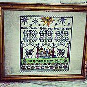 """Картины и панно ручной работы. Ярмарка Мастеров - ручная работа Сэмплер """"Come creator spirit our souls inspire"""". Handmade."""