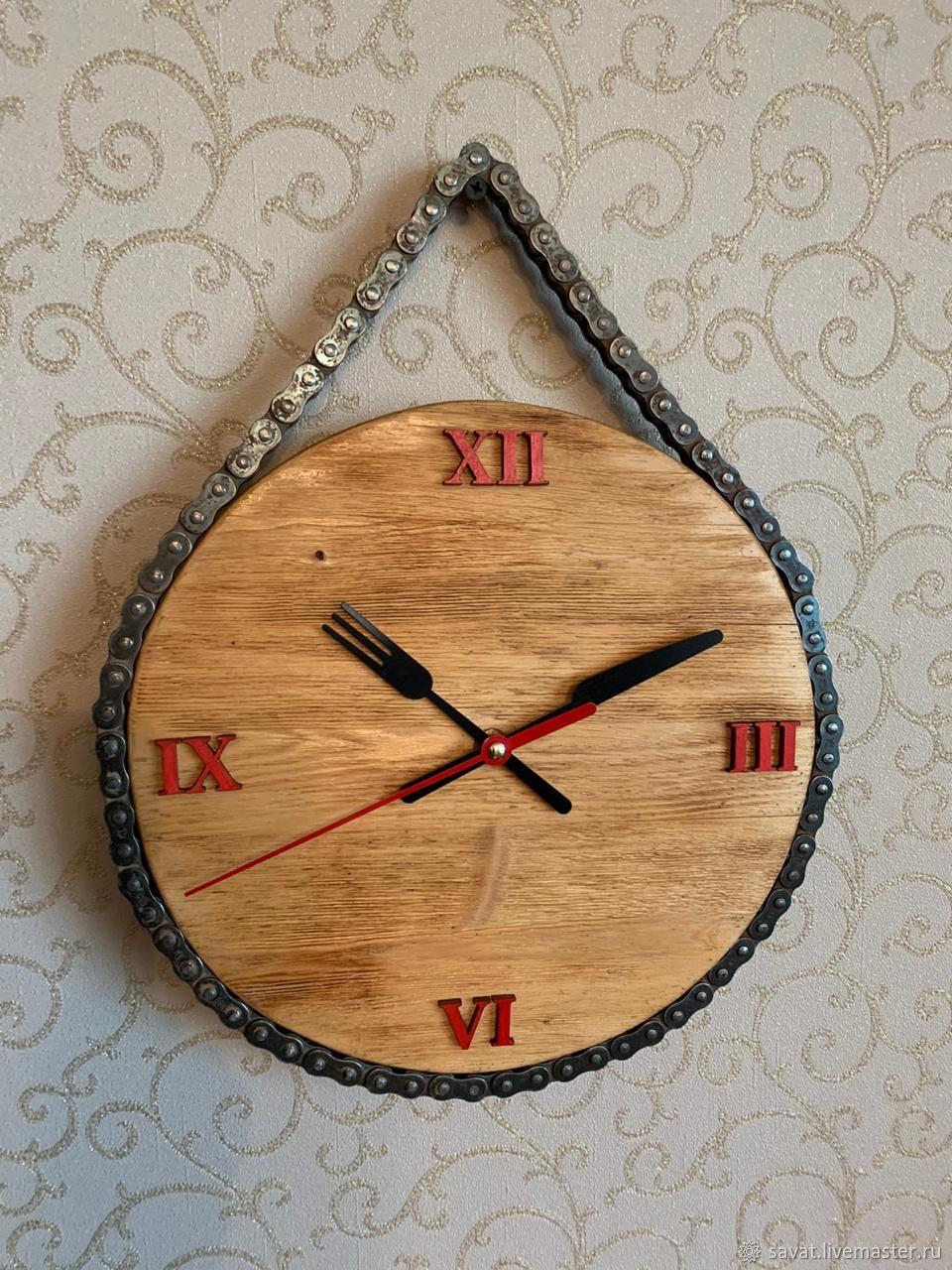 """Часы деревянные """"Вилка и нож"""". Часы для кухни, Часы классические, Москва,  Фото №1"""