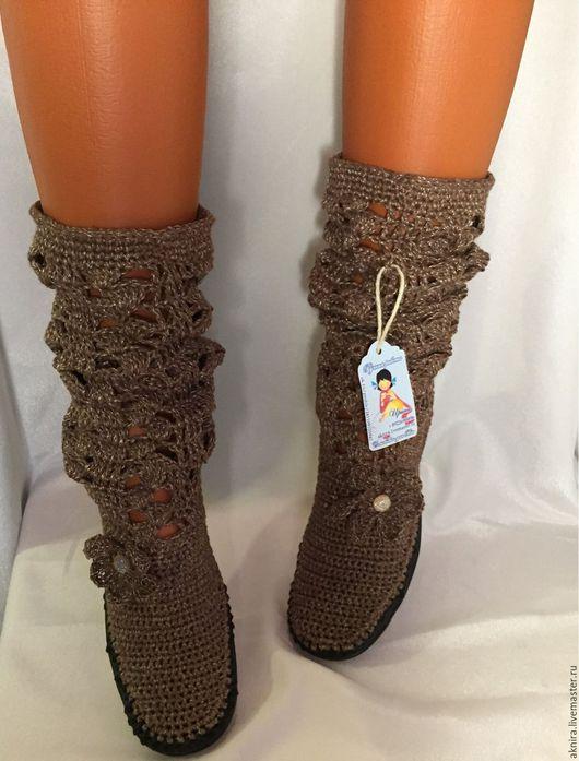 Обувь ручной работы. Ярмарка Мастеров - ручная работа. Купить Сапоги вязанные крючком на подошве ТЭП. Handmade. Сапоги женские