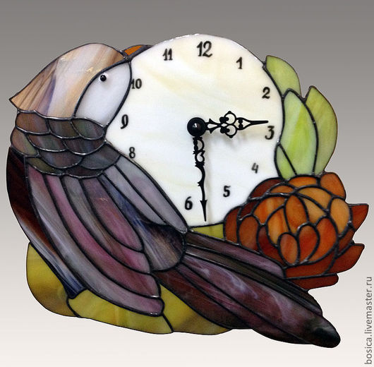 """Часы для дома ручной работы. Ярмарка Мастеров - ручная работа. Купить часы тиффани """"Японский мотив"""". Handmade. Часы, тиффани"""