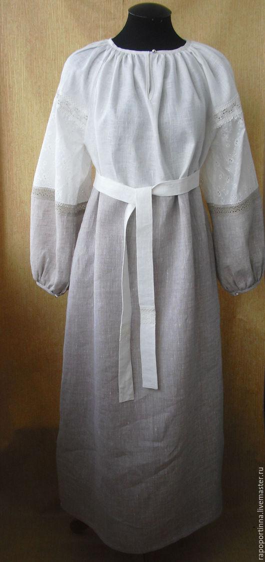 """Одежда ручной работы. Ярмарка Мастеров - ручная работа. Купить Платье-рубаха """"Пава""""с серым льном. Handmade. Серый"""