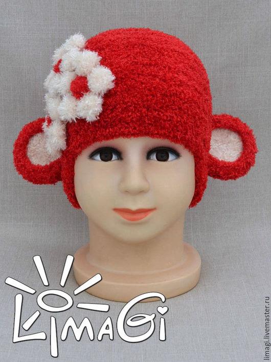 """Шапки и шарфы ручной работы. Ярмарка Мастеров - ручная работа. Купить Шапочка """"Мими"""". Handmade. Ярко-красный, шапка для девочки"""