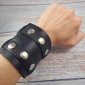 Украшения handmade. Livemaster - original item Leather Wide Wristband Wristband Two Buckles. Handmade.