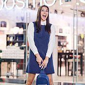 Одежда ручной работы. Ярмарка Мастеров - ручная работа Синее жаккардовое платье-трапеция Blue jacquard A-line dress. Handmade.