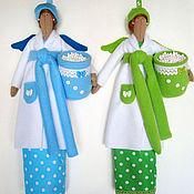 Для дома и интерьера ручной работы. Ярмарка Мастеров - ручная работа Хранительница ватных дисков и палочек (голубая и зеленаяя). Handmade.