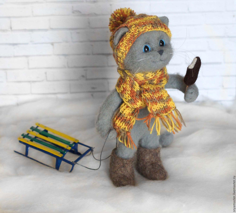 Котик с санками. Валяная игрушка из шерсти, Игрушки, Зея, Фото №1