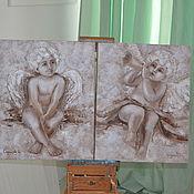 Картины и панно ручной работы. Ярмарка Мастеров - ручная работа Два Ангела. Handmade.