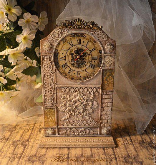 """Часы для дома ручной работы. Ярмарка Мастеров - ручная работа. Купить Часы настольные """"Цветы, застывшие в камне..."""". Handmade."""