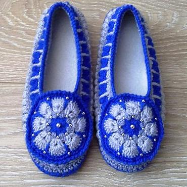Обувь ручной работы. Ярмарка Мастеров - ручная работа Тапочки домашние вязаные крючком Василиса. Handmade.