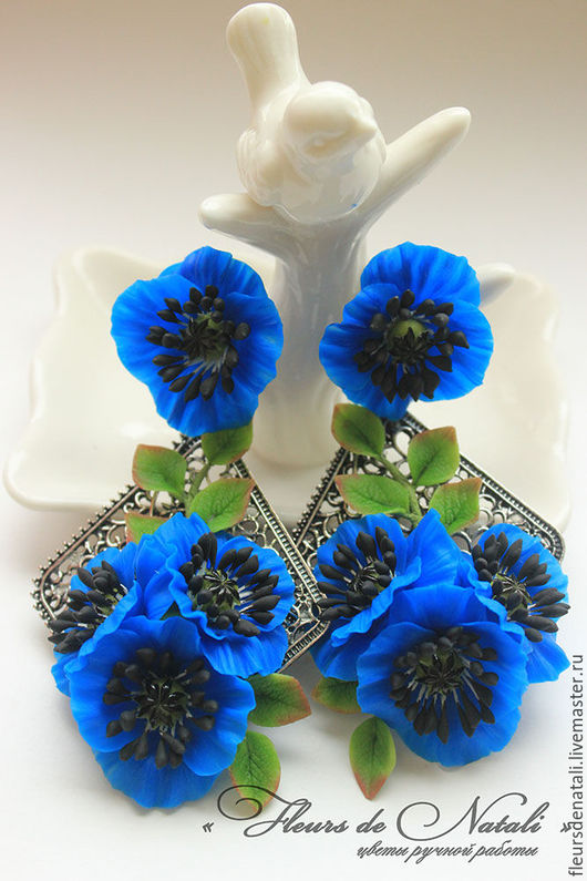 """Серьги ручной работы. Ярмарка Мастеров - ручная работа. Купить Крупные серьги с цветами мака из полимерной глины """"Синие маки"""". Handmade."""