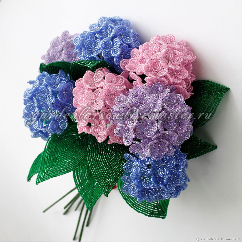 Гортензии из бисера. Букет, Цветы, Москва,  Фото №1
