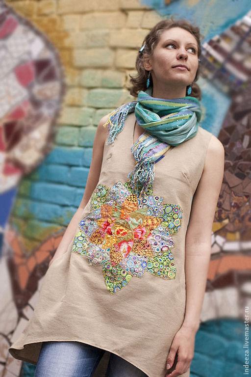 """Платья ручной работы. Ярмарка Мастеров - ручная работа. Купить Платье-бохо """"С цветком"""". Handmade. Бежевый, лоскутное шитье"""