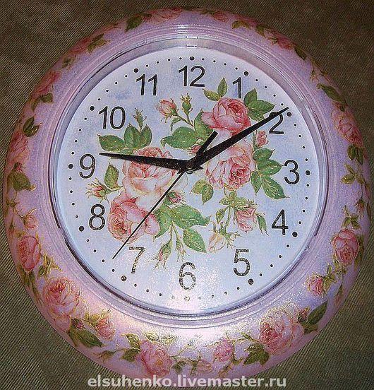 """Часы для дома ручной работы. Ярмарка Мастеров - ручная работа. Купить Часы """"Нежные розы"""". Handmade. Оригинальный подарок"""