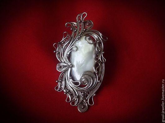 """Кольца ручной работы. Ярмарка Мастеров - ручная работа. Купить Кольцо с перламутром """"Магия лунного света......"""". Handmade. Брошь"""