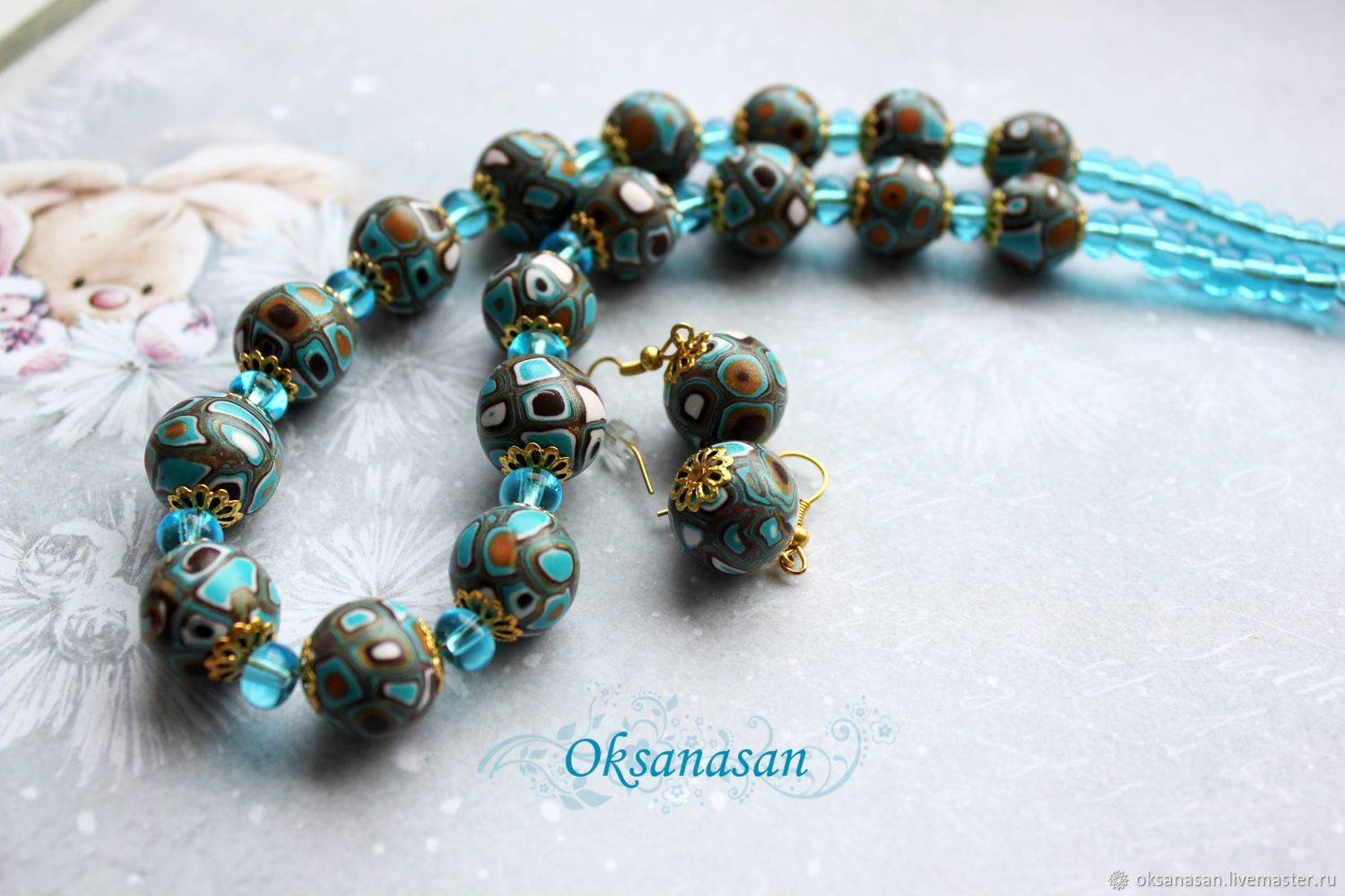 Jewelry sets: necklace and earrings-Stone and water, Jewelry Sets, Moscow,  Фото №1