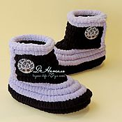 Работы для детей, handmade. Livemaster - original item Boots plush booties, knitted shoes, infant shoes, children. Handmade.