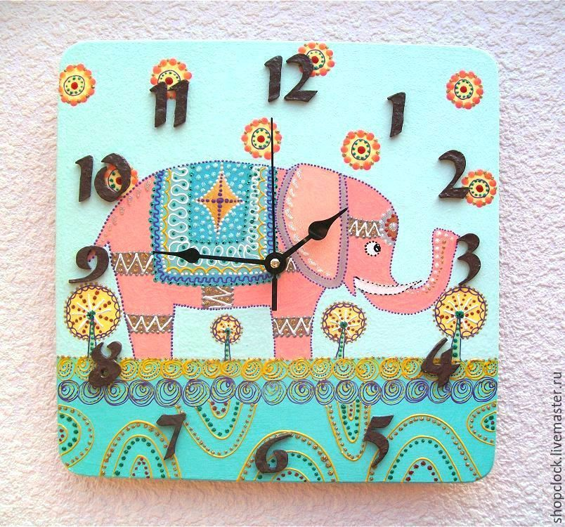 Wall clock Elephant, handmade watches for children gift, Watch, Novosibirsk,  Фото №1