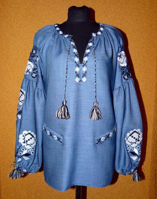 """Блузки ручной работы. Ярмарка Мастеров - ручная работа. Купить Вышитая женская рубашка """"Розы джинс"""". Handmade. Голубой, Вышиванка"""