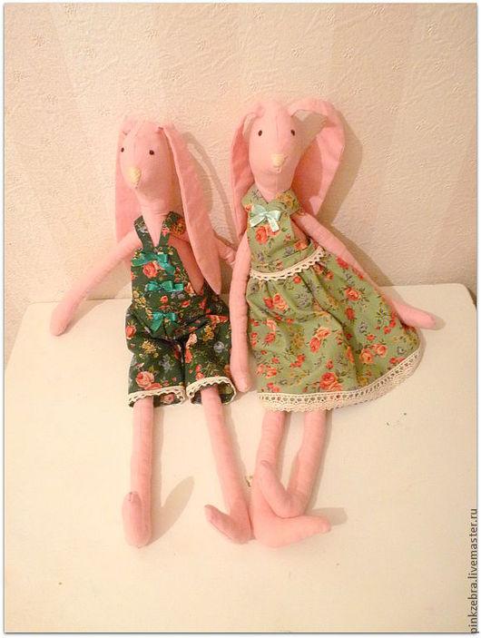Куклы Тильды ручной работы. Ярмарка Мастеров - ручная работа. Купить Зайцы в стиле тильда. Handmade. Бледно-розовый, заяц