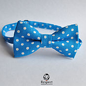 Аксессуары handmade. Livemaster - original item Tie Freeman / blue bow tie polka dot. Handmade.