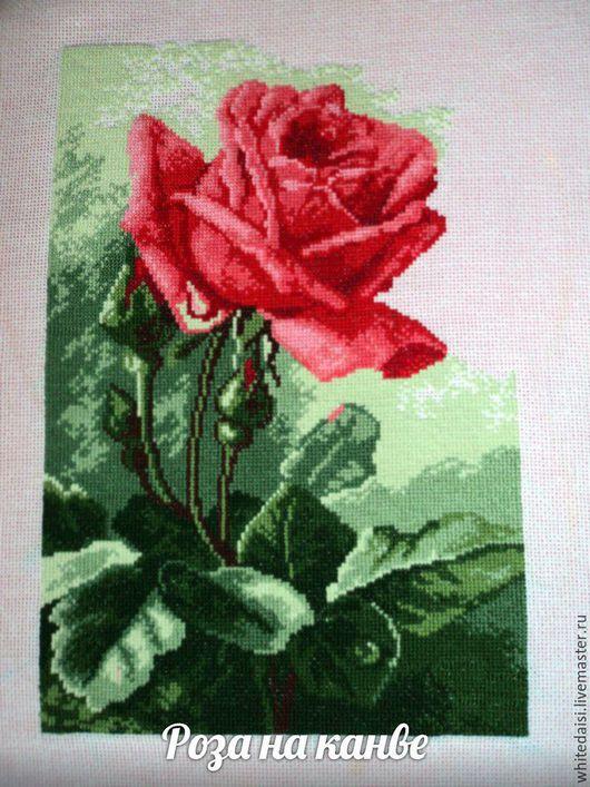 Картины цветов ручной работы. Ярмарка Мастеров - ручная работа. Купить Живая роза. Handmade. Вышивка, Вышитая картина, цветы