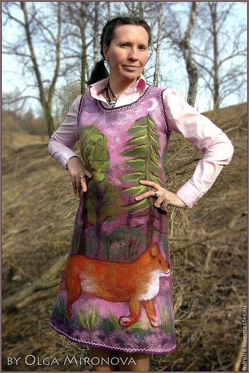 """Платья ручной работы. Ярмарка Мастеров - ручная работа. Купить Сарафан """"Лисий лес"""". Handmade. Платье валяное, валяное платье"""