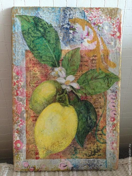 """Натюрморт ручной работы. Ярмарка Мастеров - ручная работа. Купить Мини-панно """"Лимоны"""" (Продано). Handmade. Разноцветный, панно на холсте"""