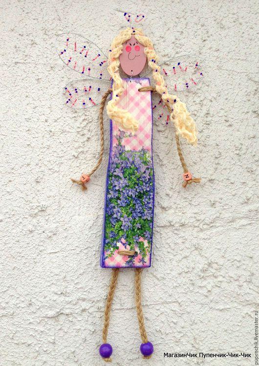 Настенная Кукла-панно `Фея колокольчиков` из дерева авторская работа смешанная техника МагазинЧик Пупенчик Чик-Чик