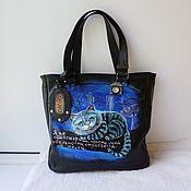 Сумки и аксессуары handmade. Livemaster - original item Leather double-sided bag with custom-made painting.. Handmade.
